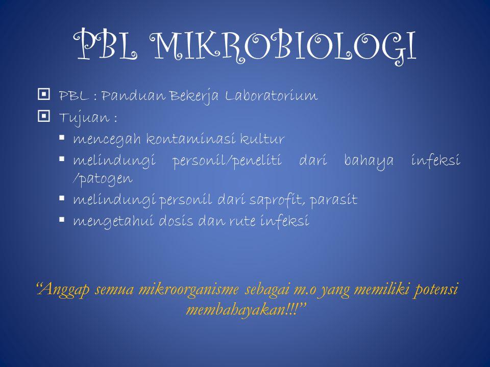 PBL MIKROBIOLOGI PBL : Panduan Bekerja Laboratorium. Tujuan : mencegah kontaminasi kultur.