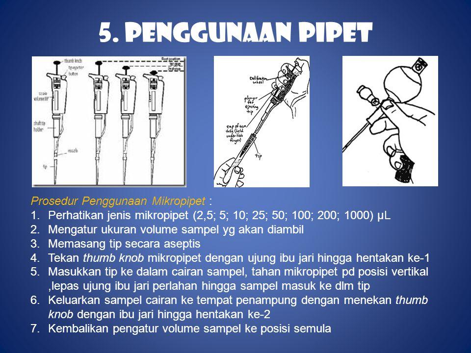 5. Penggunaan Pipet Prosedur Penggunaan Mikropipet :