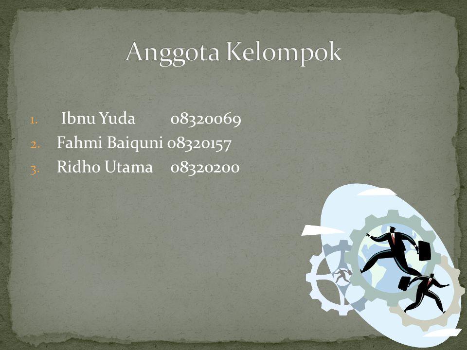 Anggota Kelompok Ibnu Yuda 08320069 Fahmi Baiquni 08320157