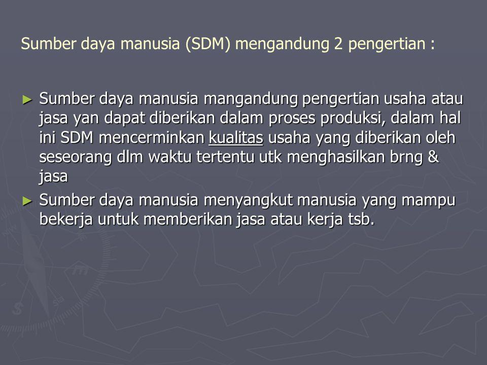 Sumber daya manusia (SDM) mengandung 2 pengertian :
