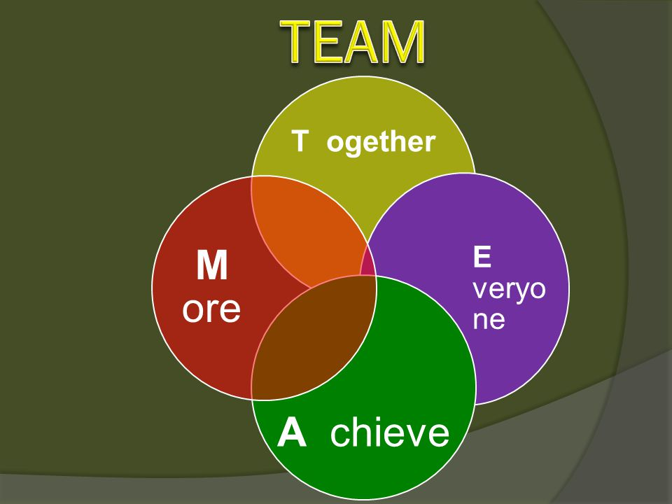 TEAM T ogether E veryone A chieve M ore