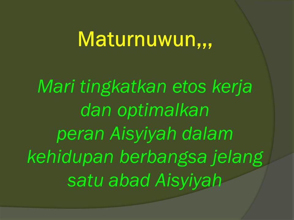 Maturnuwun,,, Mari tingkatkan etos kerja dan optimalkan peran Aisyiyah dalam kehidupan berbangsa jelang satu abad Aisyiyah