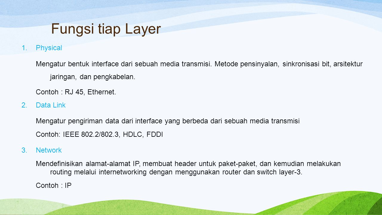 Fungsi tiap Layer Physical