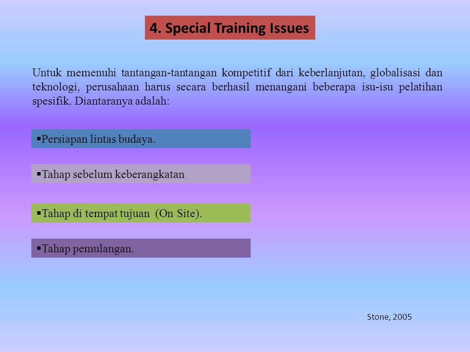4. Special Training Issues