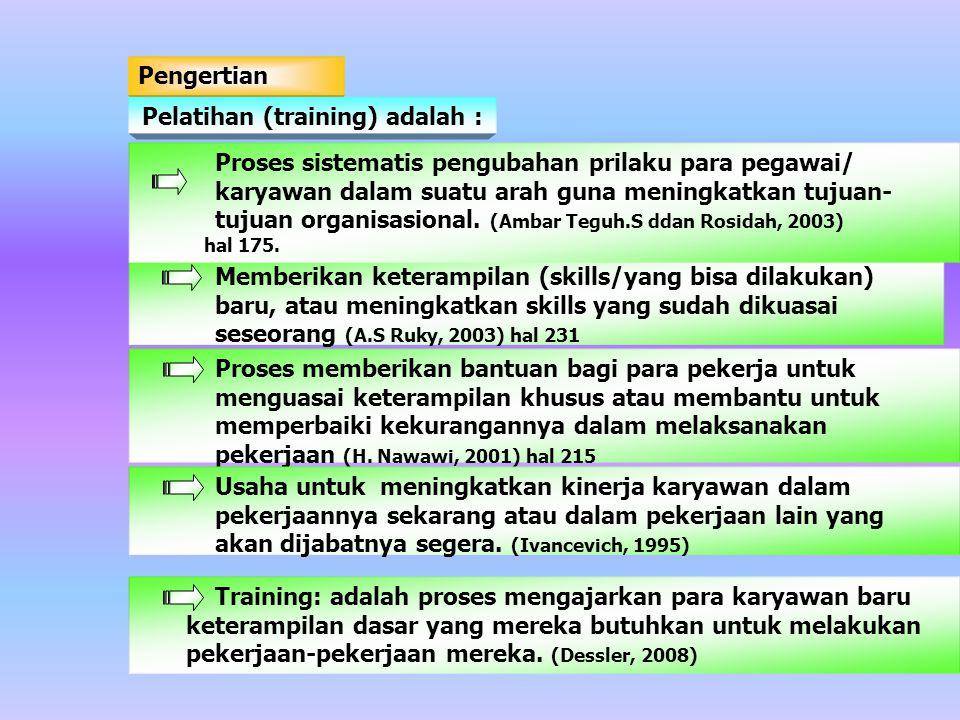 Pelatihan (training) adalah :