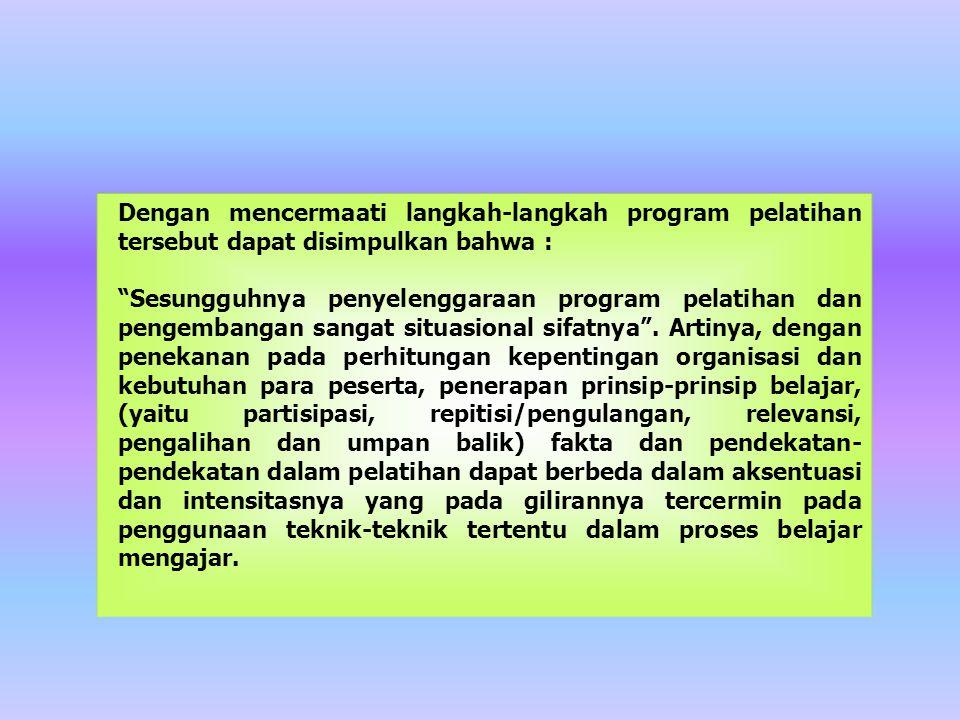 Dengan mencermaati langkah-langkah program pelatihan tersebut dapat disimpulkan bahwa :