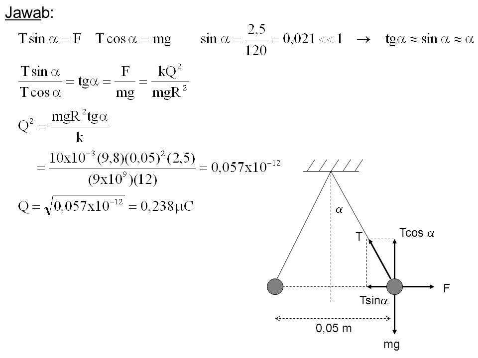 Jawab:  Tcos  T F Tsin 0,05 m mg