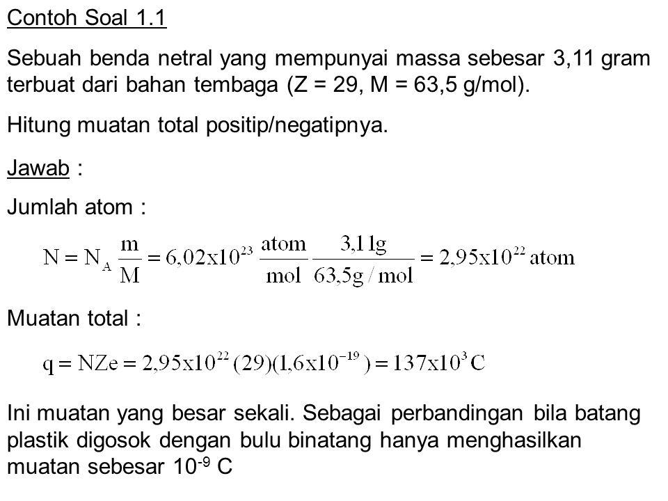 Contoh Soal 1.1 Sebuah benda netral yang mempunyai massa sebesar 3,11 gram terbuat dari bahan tembaga (Z = 29, M = 63,5 g/mol).