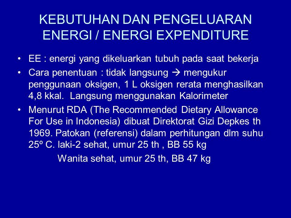 KEBUTUHAN DAN PENGELUARAN ENERGI / ENERGI EXPENDITURE