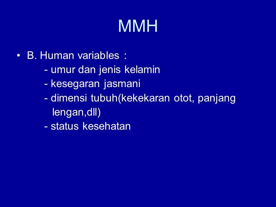 MMH B. Human variables : - umur dan jenis kelamin - kesegaran jasmani