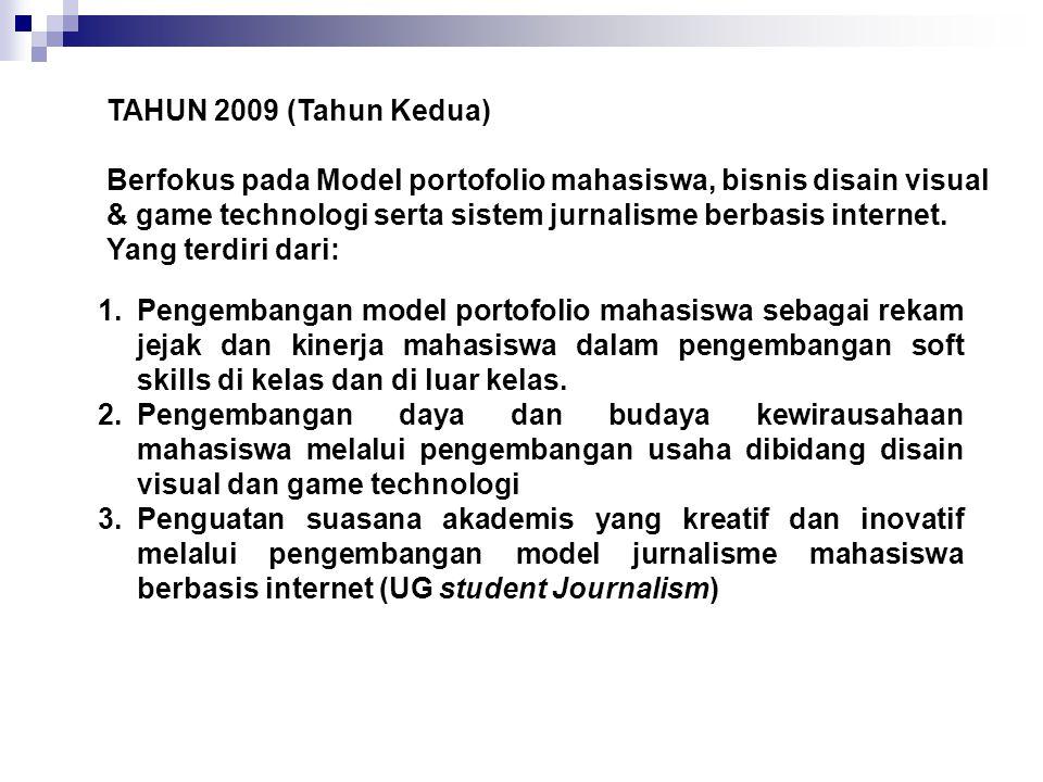 TAHUN 2009 (Tahun Kedua) Berfokus pada Model portofolio mahasiswa, bisnis disain visual & game technologi serta sistem jurnalisme berbasis internet.