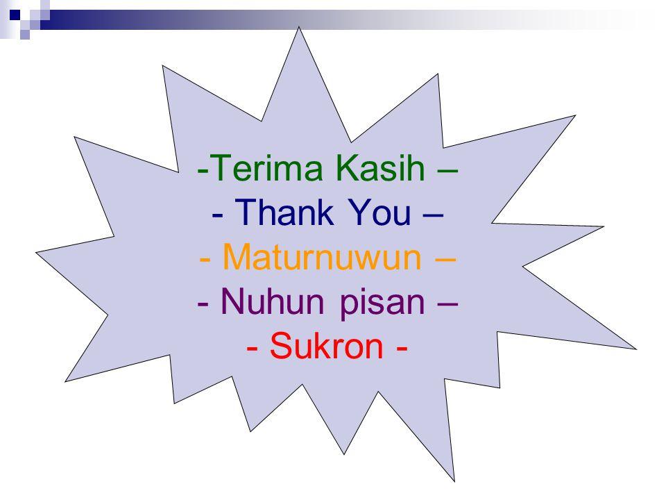 Terima Kasih – - Thank You – - Maturnuwun – - Nuhun pisan – - Sukron -