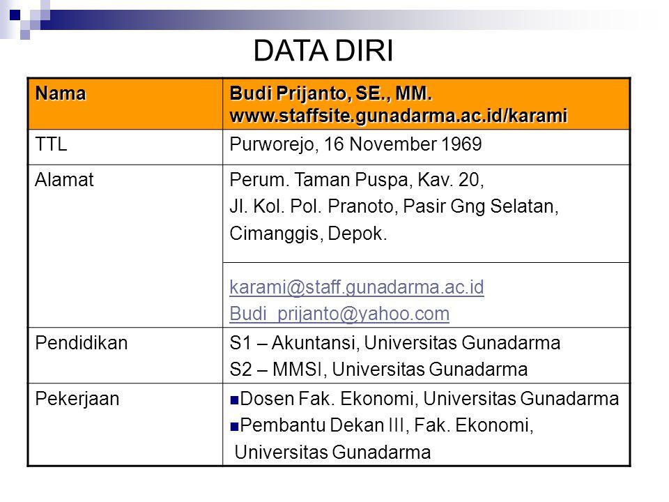 DATA DIRI Nama. Budi Prijanto, SE., MM. www.staffsite.gunadarma.ac.id/karami. TTL. Purworejo, 16 November 1969.