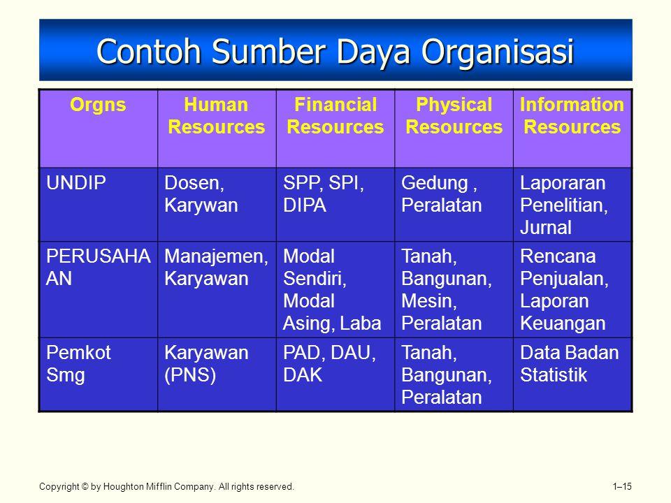 Contoh Sumber Daya Organisasi