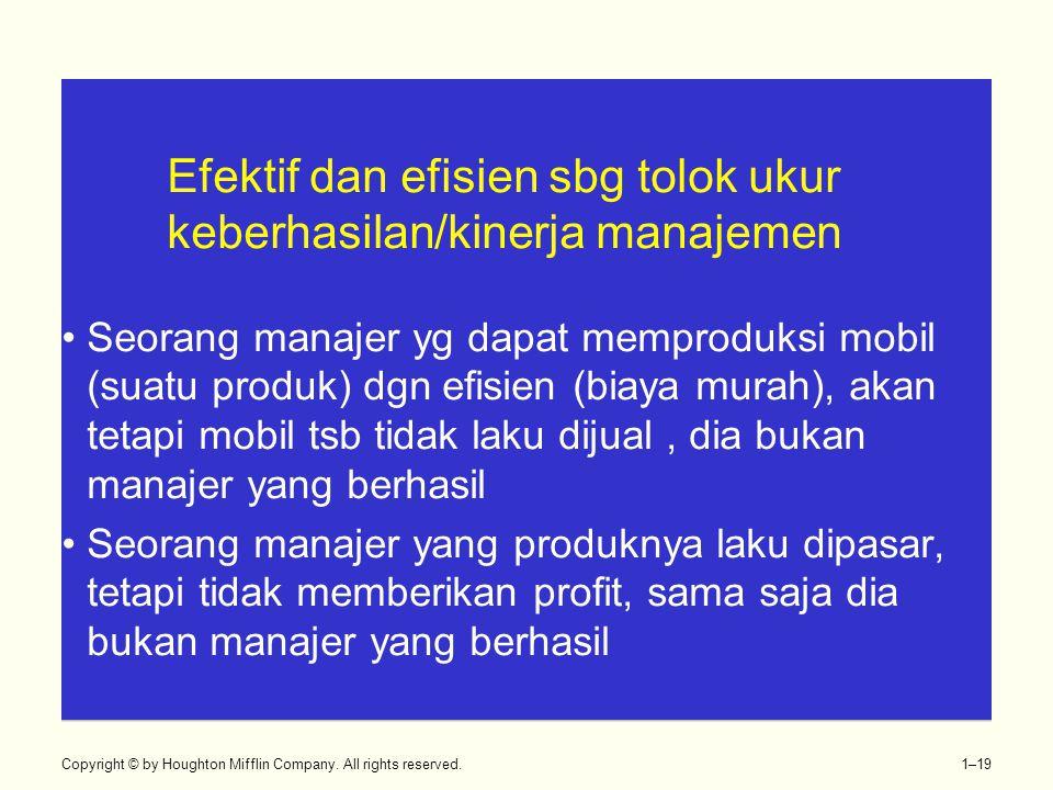 Efektif dan efisien sbg tolok ukur keberhasilan/kinerja manajemen