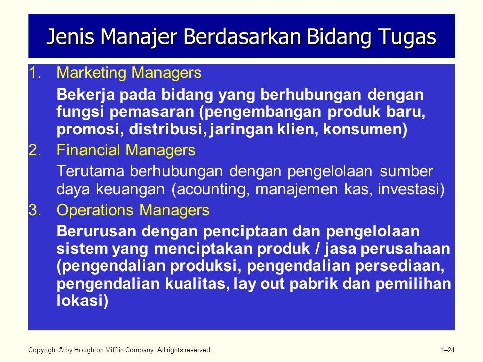 Jenis Manajer Berdasarkan Bidang Tugas