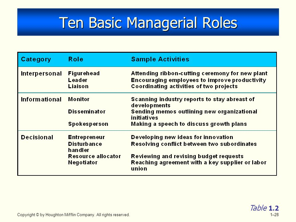 Ten Basic Managerial Roles