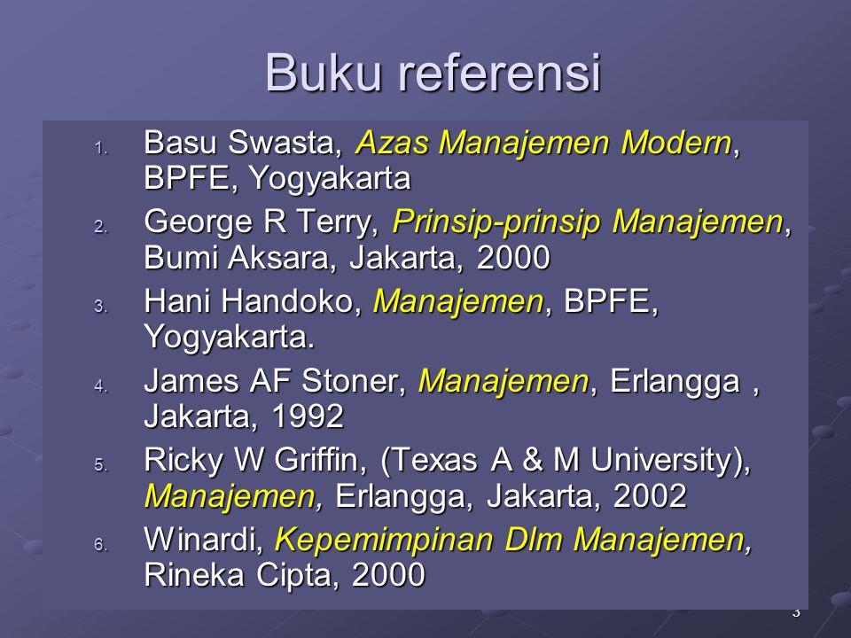 Buku referensi Basu Swasta, Azas Manajemen Modern, BPFE, Yogyakarta
