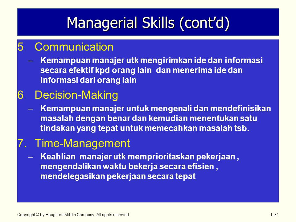Managerial Skills (cont'd)