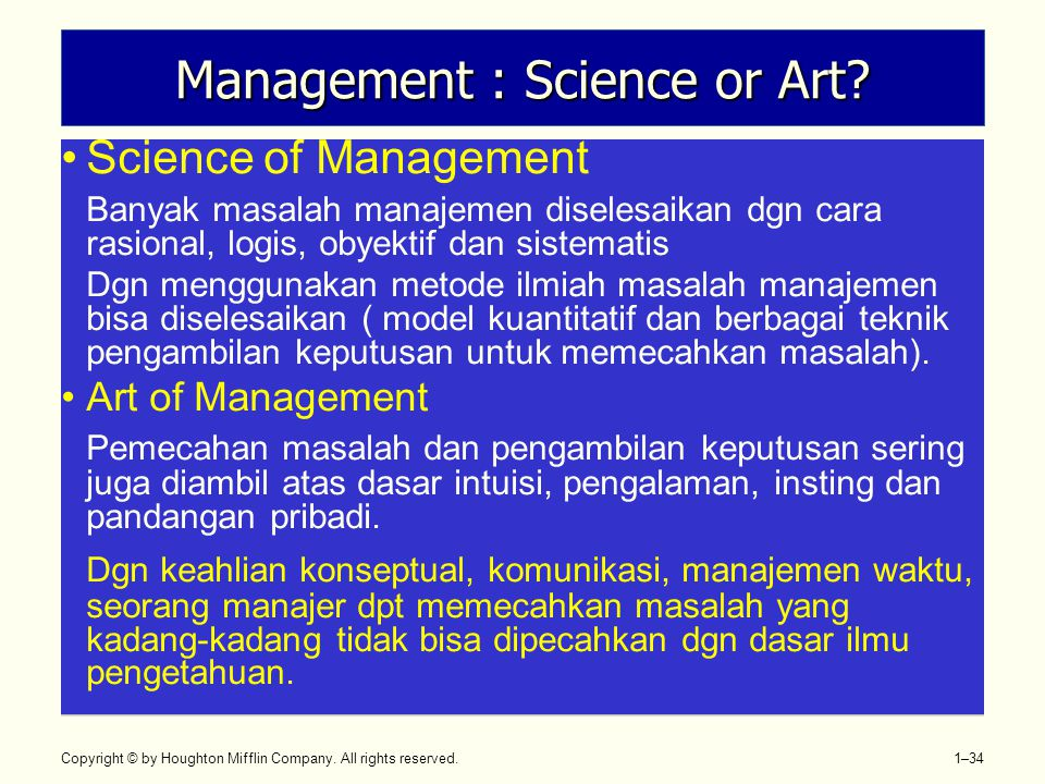 Management : Science or Art
