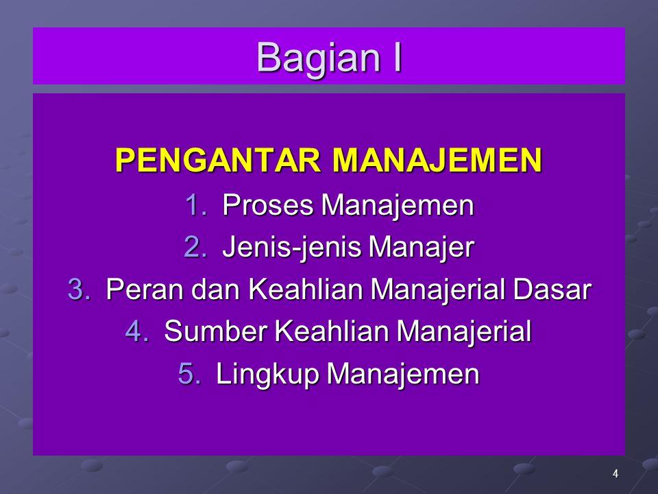 Bagian I PENGANTAR MANAJEMEN Proses Manajemen Jenis-jenis Manajer