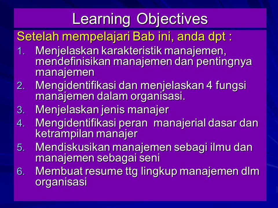 Learning Objectives Setelah mempelajari Bab ini, anda dpt :