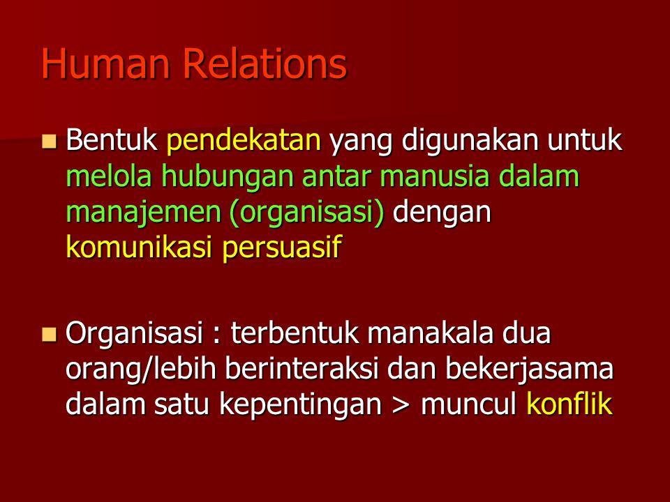 Human Relations Bentuk pendekatan yang digunakan untuk melola hubungan antar manusia dalam manajemen (organisasi) dengan komunikasi persuasif.