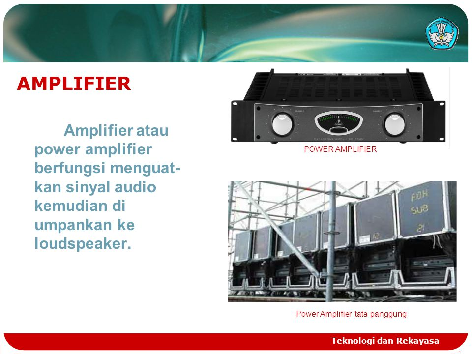 AMPLIFIER Amplifier atau power amplifier berfungsi menguat- kan sinyal audio kemudian di umpankan ke loudspeaker.