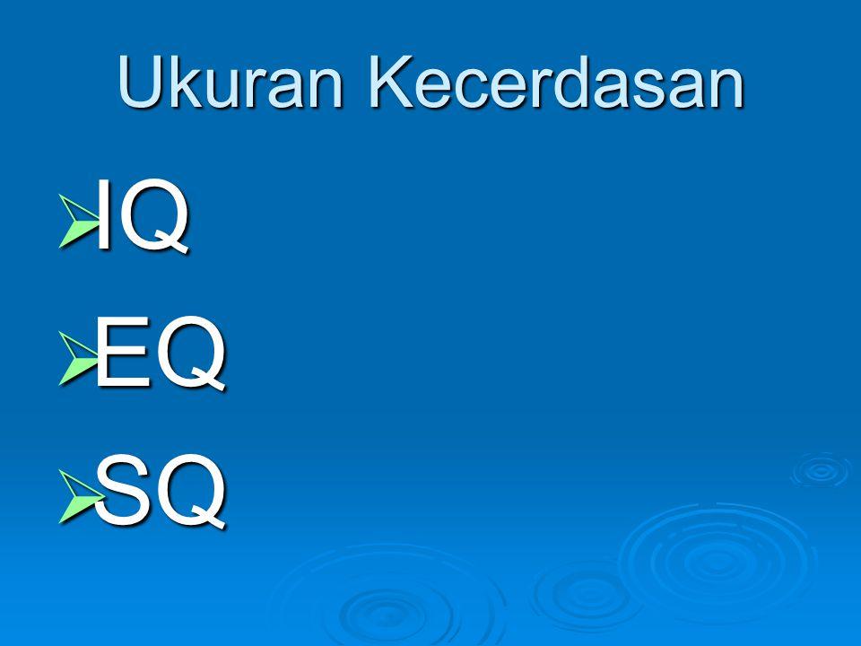 Ukuran Kecerdasan IQ EQ SQ