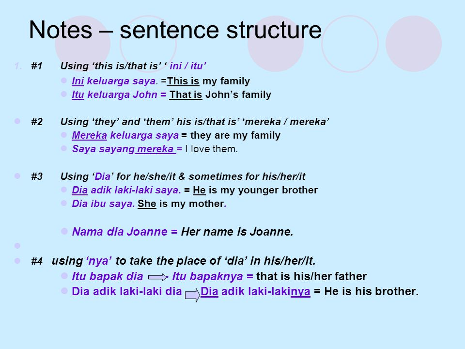Notes – sentence structure