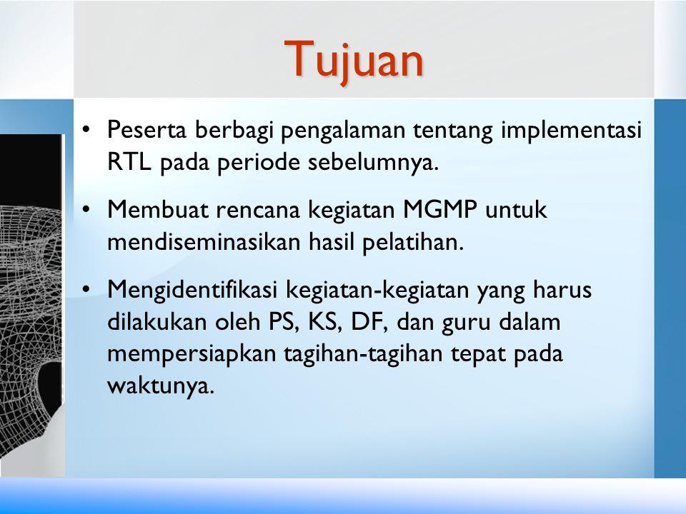 Tujuan Peserta berbagi pengalaman tentang implementasi RTL pada periode sebelumnya.
