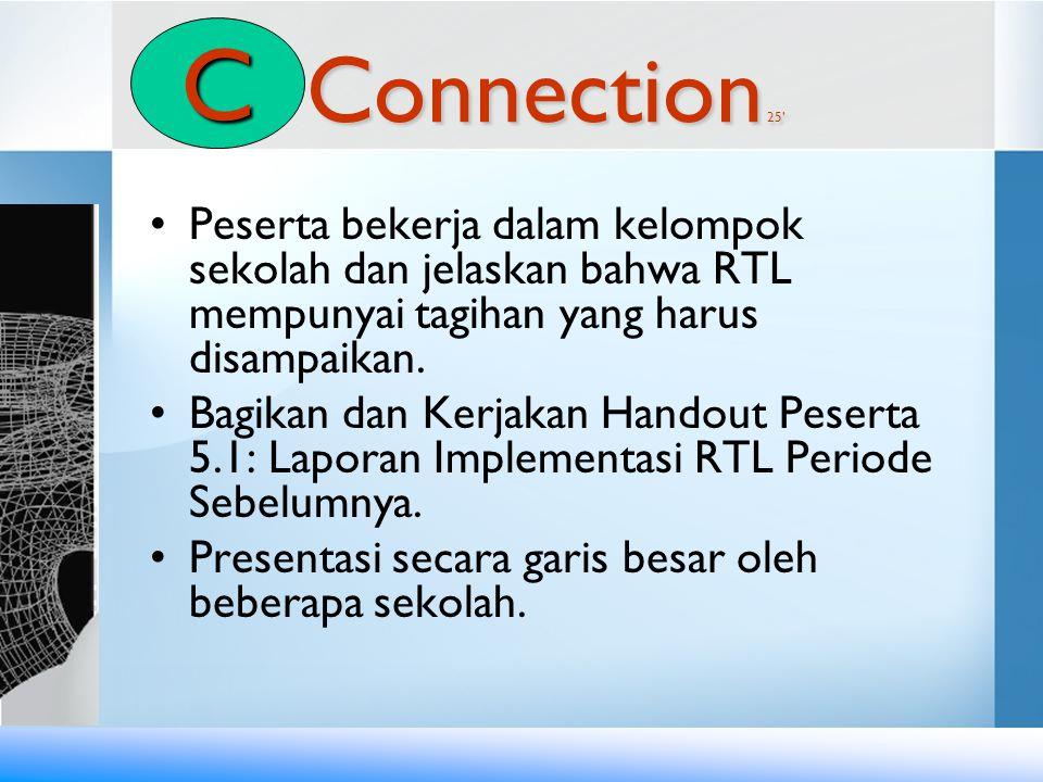C Connection 25' Peserta bekerja dalam kelompok sekolah dan jelaskan bahwa RTL mempunyai tagihan yang harus disampaikan.