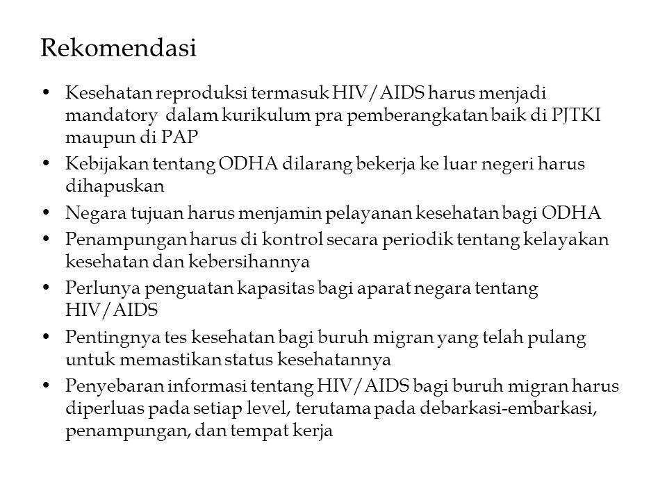 Rekomendasi Kesehatan reproduksi termasuk HIV/AIDS harus menjadi mandatory dalam kurikulum pra pemberangkatan baik di PJTKI maupun di PAP.