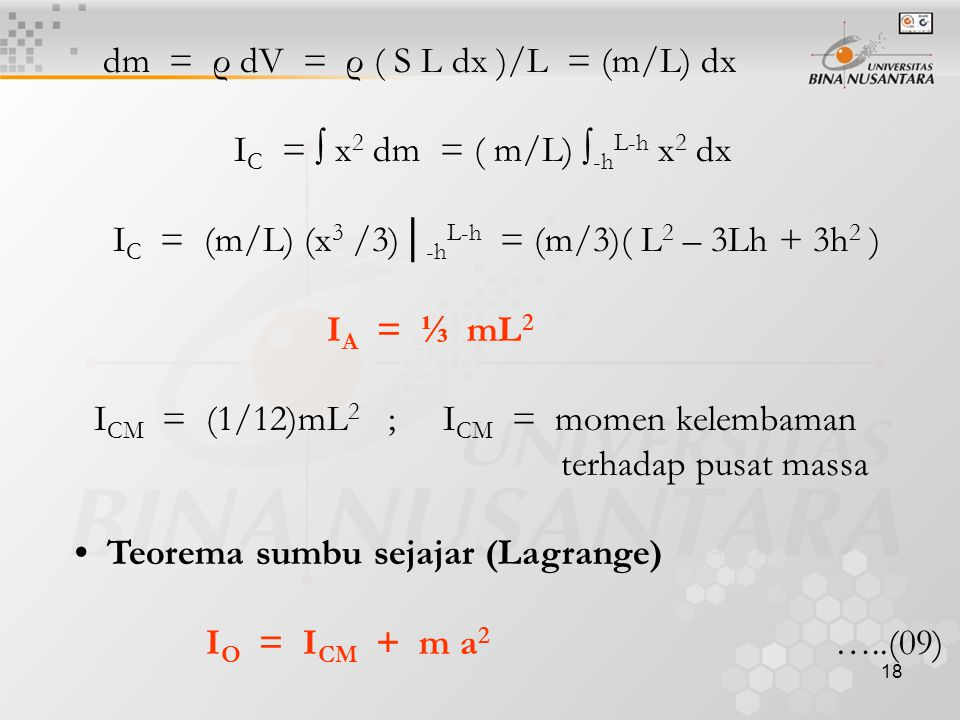 dm = ρ dV = ρ ( S L dx )/L = (m/L) dx