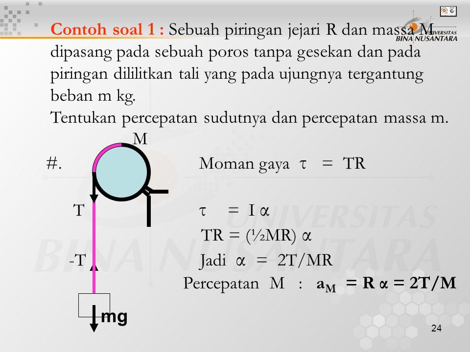Contoh soal 1 : Sebuah piringan jejari R dan massa M
