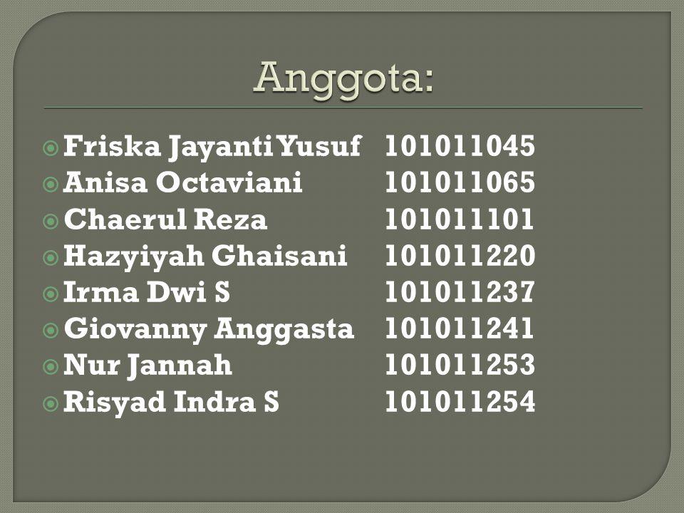 Anggota: Friska Jayanti Yusuf 101011045 Anisa Octaviani 101011065