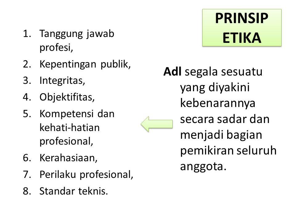 PRINSIP ETIKA Tanggung jawab profesi, Kepentingan publik, Integritas, Objektifitas, Kompetensi dan kehati-hatian profesional,