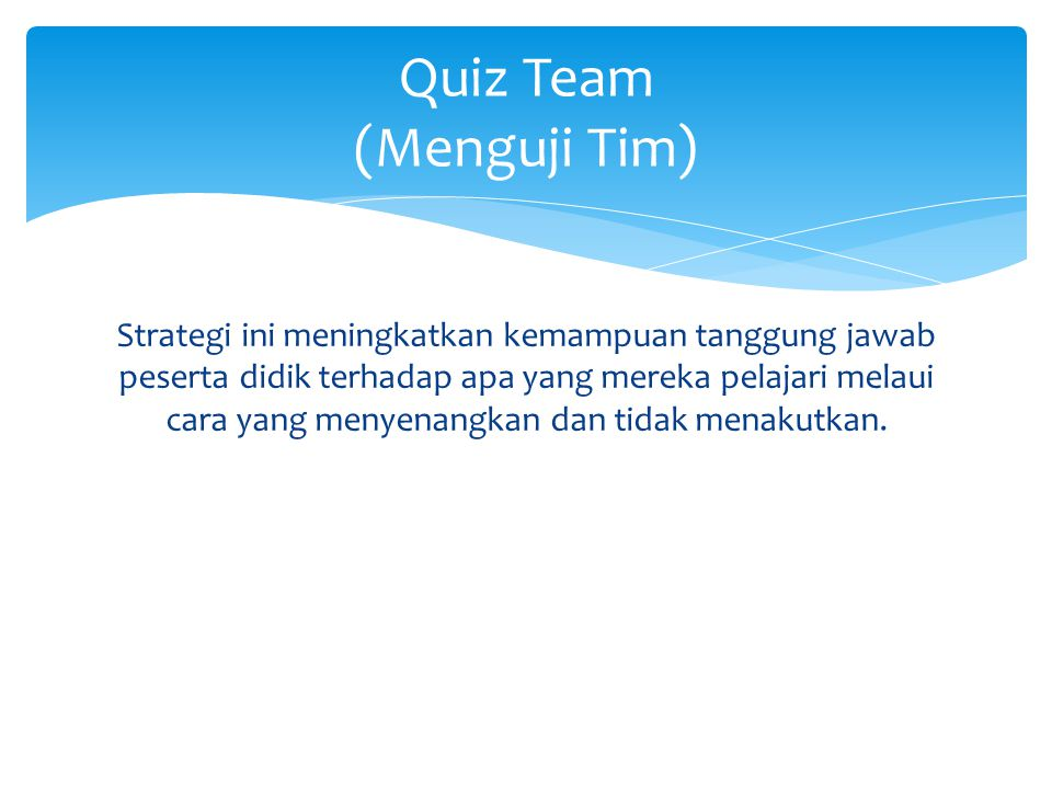 Quiz Team (Menguji Tim)