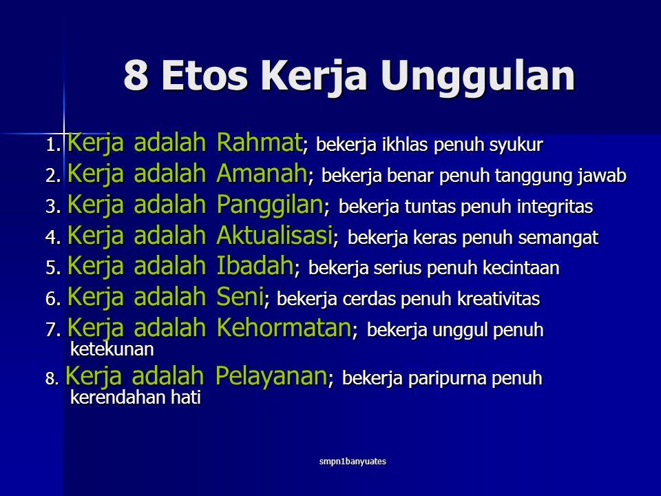 8 Etos Kerja Unggulan 1. Kerja adalah Rahmat; bekerja ikhlas penuh syukur. 2. Kerja adalah Amanah; bekerja benar penuh tanggung jawab.