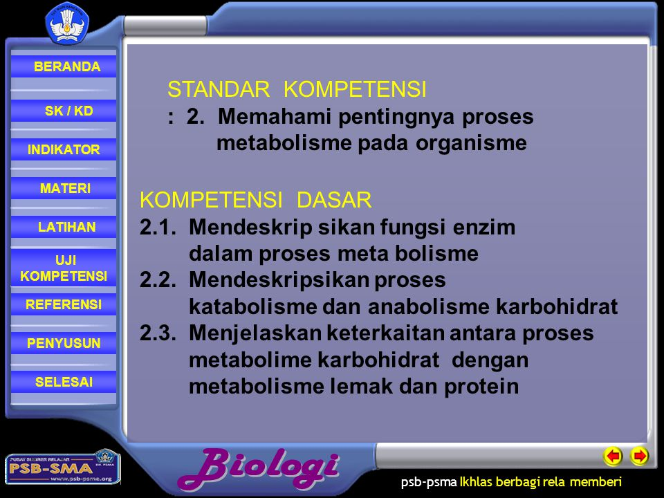 STANDAR KOMPETENSI : 2. Memahami pentingnya proses. metabolisme pada organisme. KOMPETENSI DASAR.