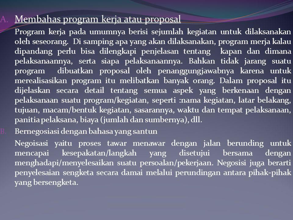 Membahas program kerja atau proposal