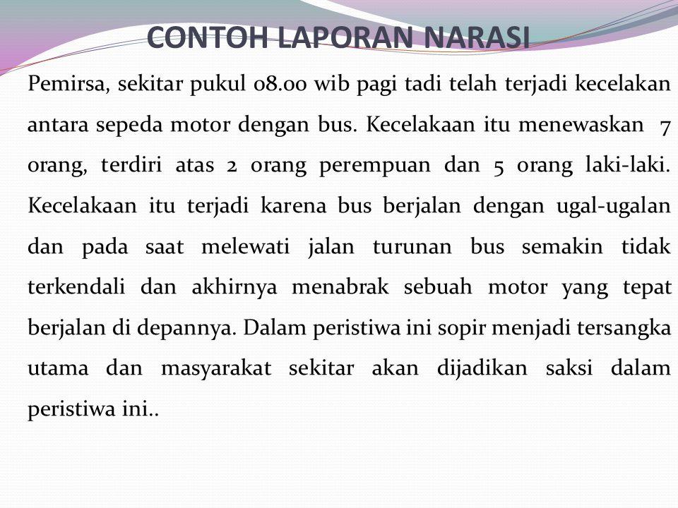 CONTOH LAPORAN NARASI