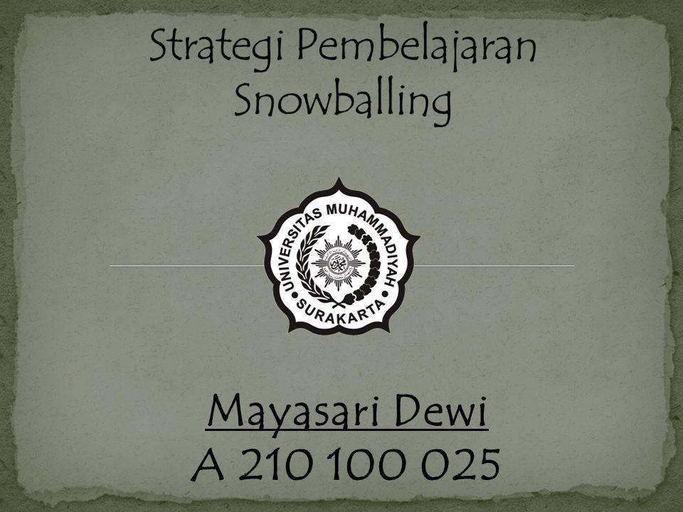 Strategi Pembelajaran Snowballing