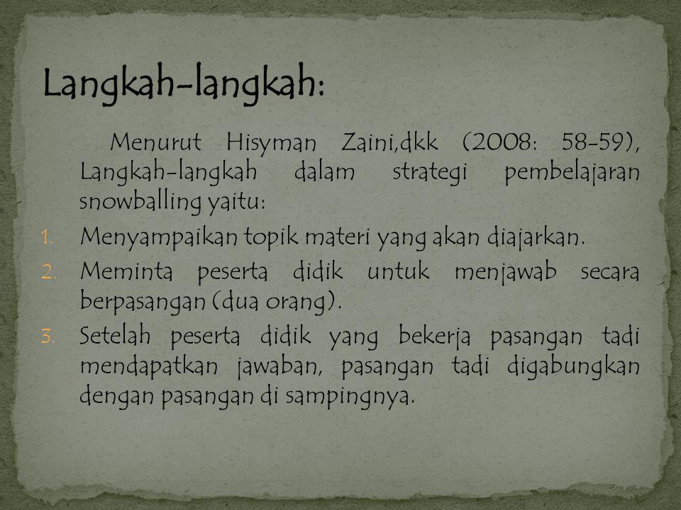 Langkah-langkah: Menurut Hisyman Zaini,dkk (2008: 58-59), Langkah-langkah dalam strategi pembelajaran snowballing yaitu: