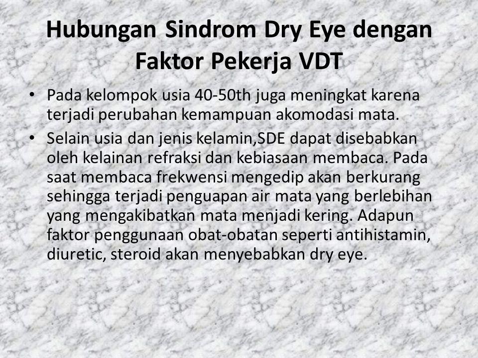 Hubungan Sindrom Dry Eye dengan Faktor Pekerja VDT