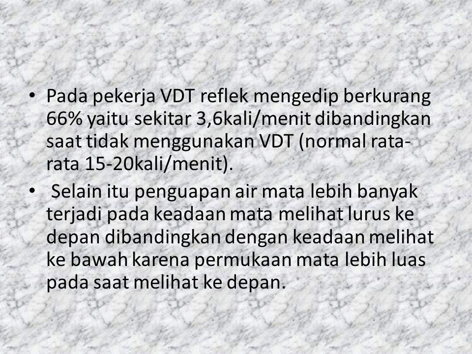Pada pekerja VDT reflek mengedip berkurang 66% yaitu sekitar 3,6kali/menit dibandingkan saat tidak menggunakan VDT (normal rata-rata 15-20kali/menit).