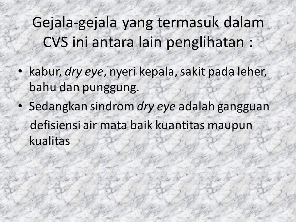 Gejala-gejala yang termasuk dalam CVS ini antara lain penglihatan :