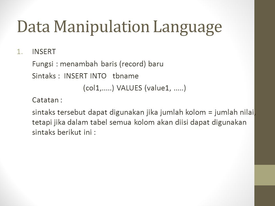 Data Manipulation Language