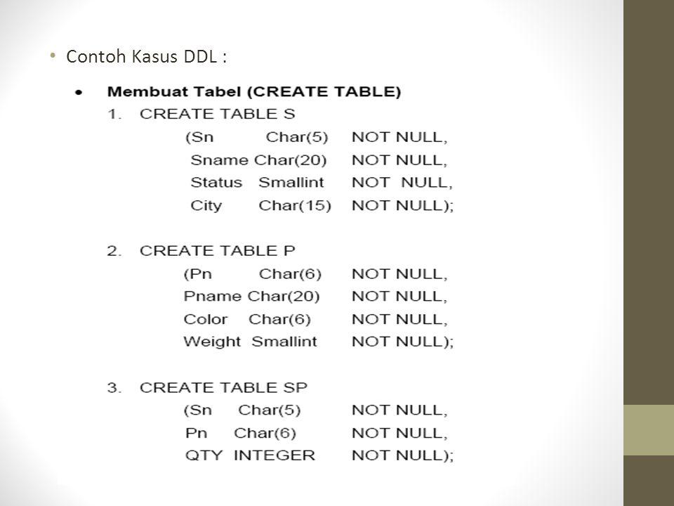 Contoh Kasus DDL :
