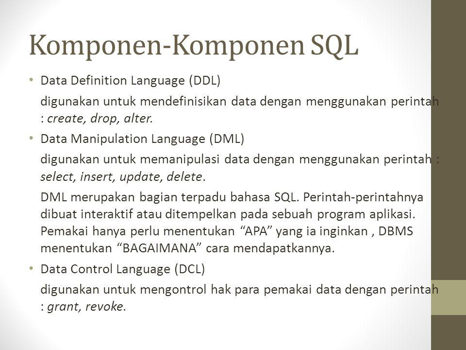Komponen-Komponen SQL
